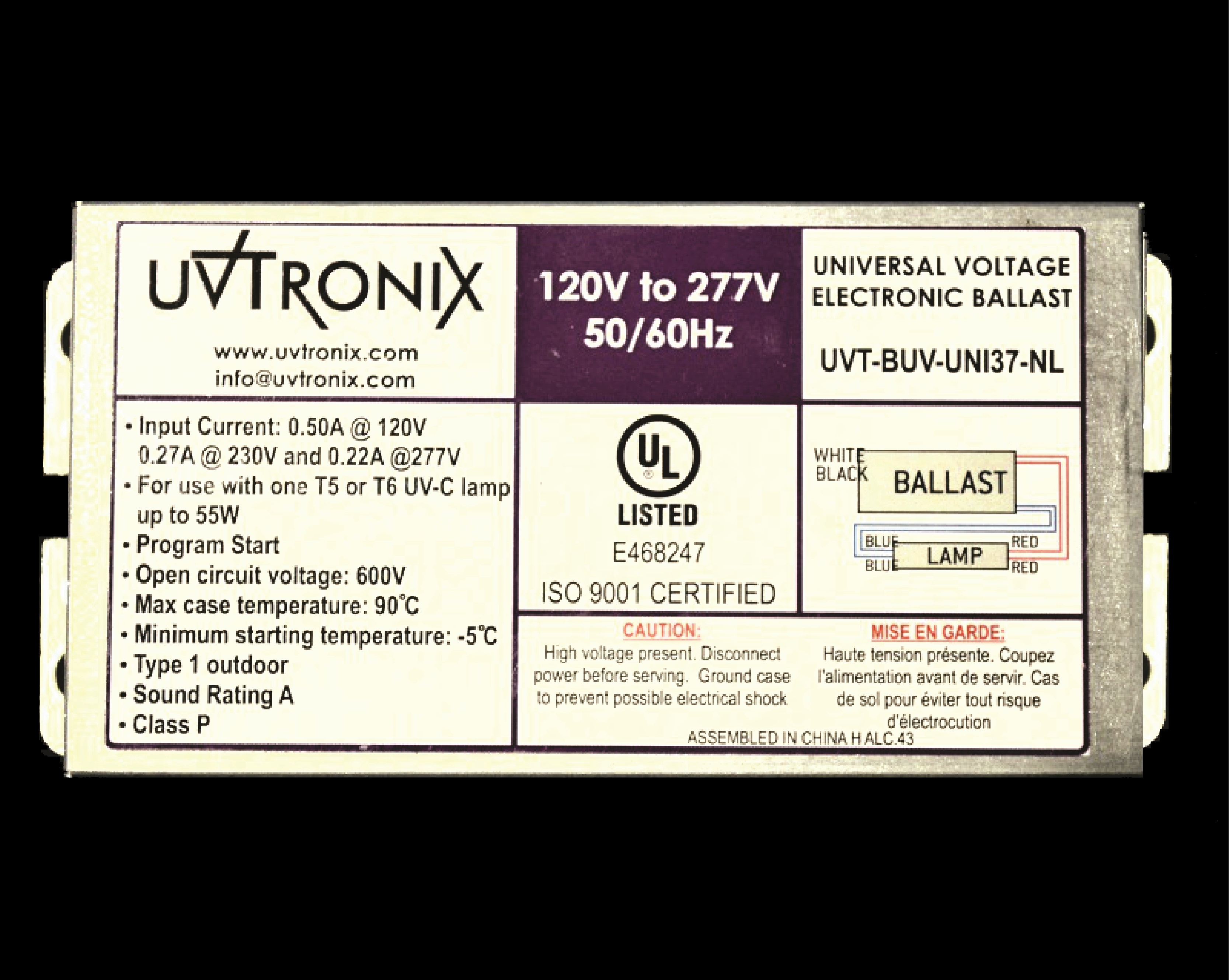Uvtronix Designs Products Programmed Start Ballast Wiring Diagram Highly Reliable Electronic For Use With A Uv Lamp Up To 55w